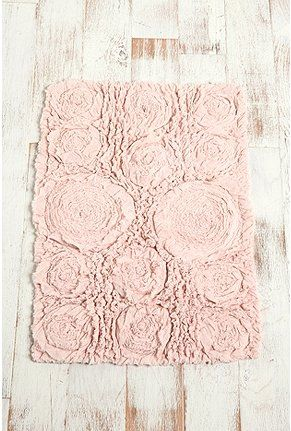 Shabby Chic bath mat ~blush ruffled roses- how much do you want to redo your bathroom now!