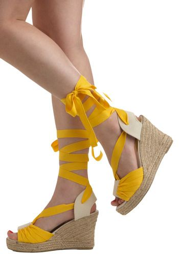 Yellow wedges for a casual wedding