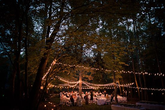 Globe lighting in the forest....lovely outdoor wedding with lights...