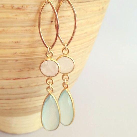 Wedding earrings, chalcedony and moonstone earrings by AinaKai,