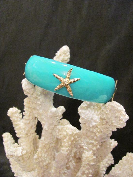 Starfish Turquoise and Gold Bangle  Summer by savannahjacks, $25.00