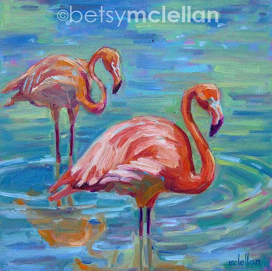 Flamingos Original Painting 10x10 by betsymclellanstudio on Etsy, $55.00