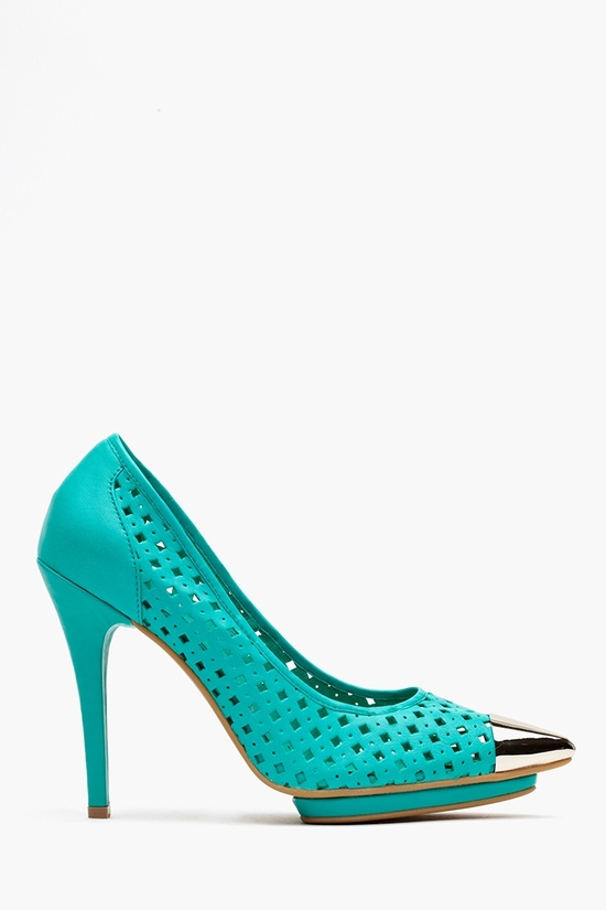 Bullet Platform Pump - Perforated Teal in What's New at Nasty Gal