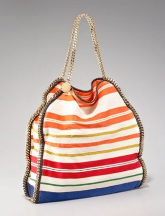 50 Dream Handbags: Stella McCartney striped falabella tote, $1,495 #handbags, #handbags galore, #purse, #shoulder bag, #designer bags, ,#traveling bags