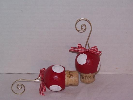 Cork Mushroom Christmas Ornaments