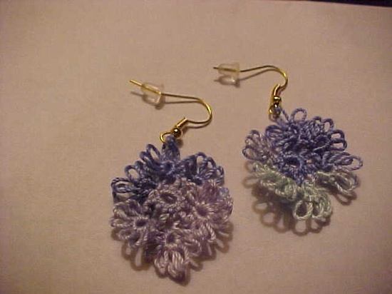 Tatted Variegated Blues Earrings from Dove Country Tatting.