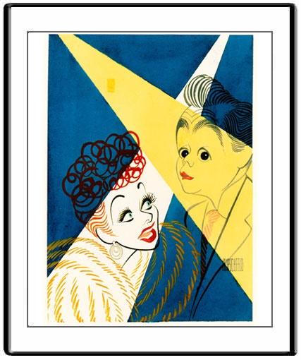 Al Hirschfeld  Lucy & Desi  Watercolor  Hand signed by Al Hirschfeld in ink  c. 1955,