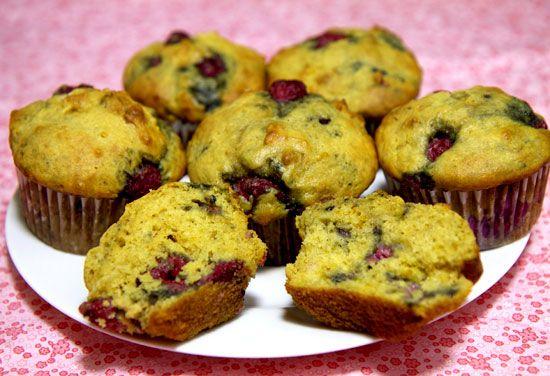 Low Sugar High Protein Lemon Raspberry Muffins - made with greek yogurt!