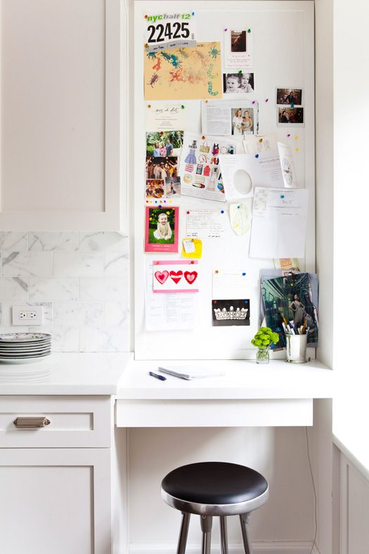Kitchen command nook // #office // workspace // #smallspace