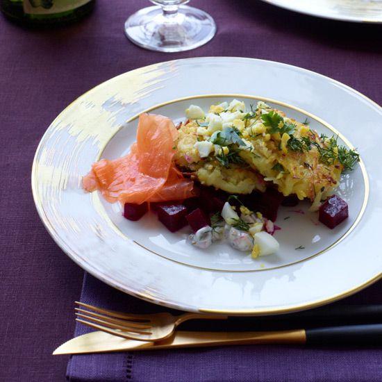 Potato-Quinoa Cakes with Smoked Salmon and Beets // More Terrific Quinoa Recipes: www.foodandwine.c... #foodandwine