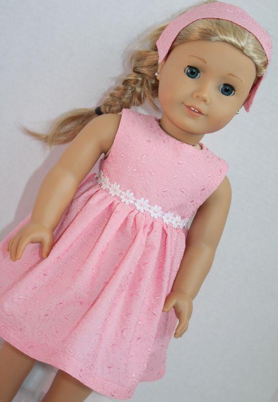 cute little Pink Dress with flowered trim at waist