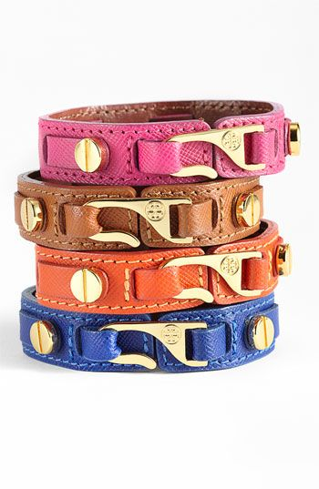 Tory Burch 'Hook' Leather Wrap Bracelet
