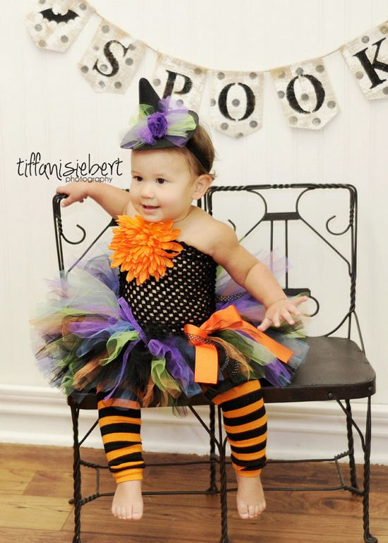 BABY WITCH COSTUME.....2 pc set, mini hat and tutu...size newborn up to 2T....Halloween costume on Etsy, $44.95