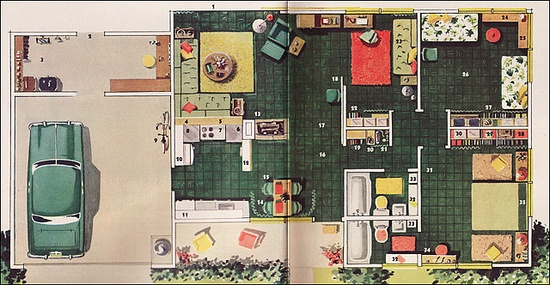 1951 Levitt & Sons House Plan    This plan was a featured Five Star plan in 1951 — No. 2107. It was created by Levitt & Sons on Long Island, then known for their upscale projects. This house is small — just two bedrooms — but the interiors are pretty cool.    Source: Better Homes & Gardens