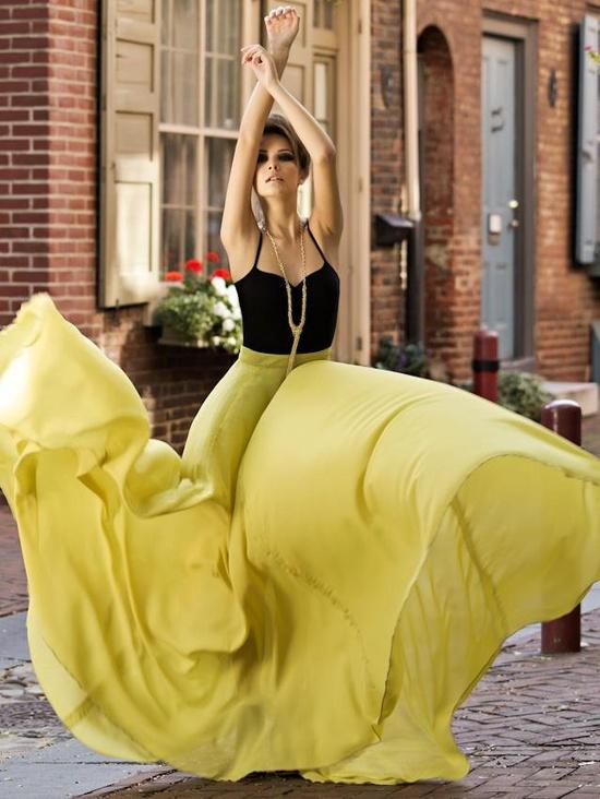 maxi skirt yellow