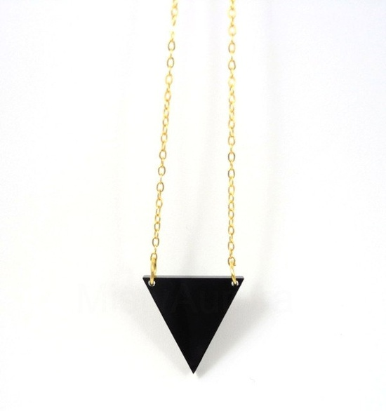 Black Triangle Necklace on Gold Plated Chain Geometric Triangle Jewelry Free Shipping Etsy