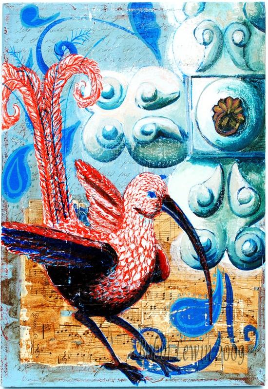 Fantasy Bird Art  Original Mixed Media by BobbisMixedMediaArt, $200.00