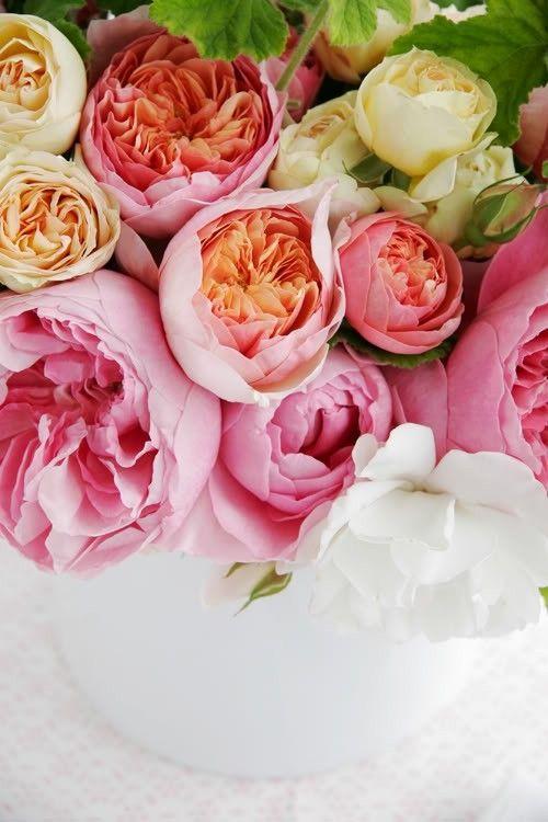 Such a warm, wonderful abundance of girly blooms! #pink #flowers #arrangement #wedding #spring #summer