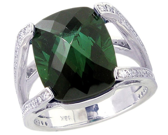 18K White Gold Large Antique-Cut Octagon Green Tourmaline and Diamond Cocktail Ring