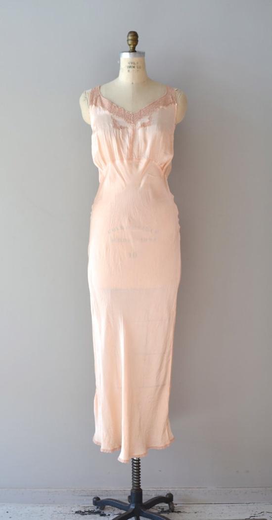 1930's Bias Cut Silk Nightgown