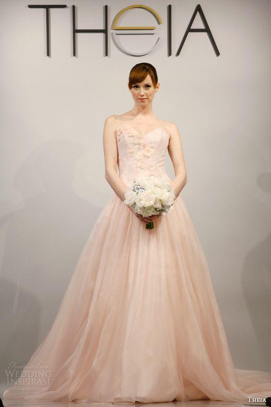 theia bridal 2014 strapless pink wedding dress style 890088
