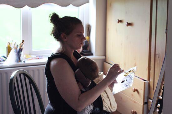 Painting while babywearing