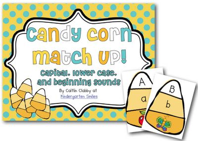 Candy Corn Match Up! Great center for the kids to practice letters/sounds