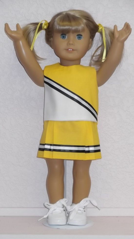 American Girl doll clothes  Yellow Cheerleader & by susiestitchit, $18.50