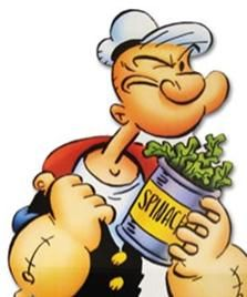 "Popeye eats his spinach. ""I am what I am and that's all what I am."""