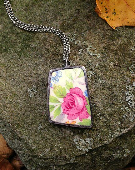Broken china jewelry shard pendant pink cabbage roses recycled broken plate necklace