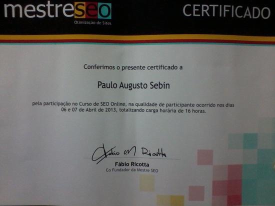 Imagem do certificado de curso de SEO prestado em 2013 para aumentar conhecimentos da área já conquistados.