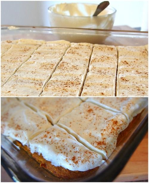 60 Calorie Healthy Pumpkin Bars With A Vanilla Bean Cream Cheese Frosting! (46 Calories Without Frosting) #cleaneating #healthy #fall #pumpkinbars #creamcheese