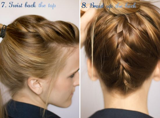 Dress Up Your Ponytail Step by Step TUTORIALS:  7. Twist back the top  8. Braid up the back