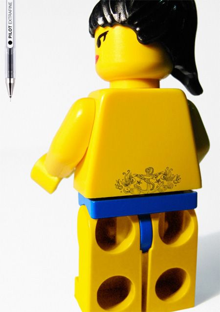 Tramp Stamp - To demonstrate the capabilities of Pilot extra fine pens, GREY advertising agency covered six LEGO minifigures with detailed full body tattoos, repinned by www.BlickeDeeler.de