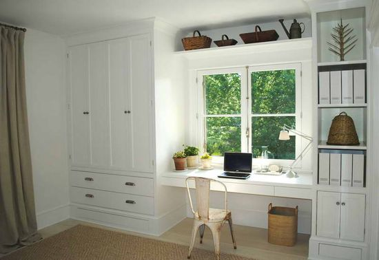A great office idea for a bedroom. #office #bedroom #storage #desk #cabinets