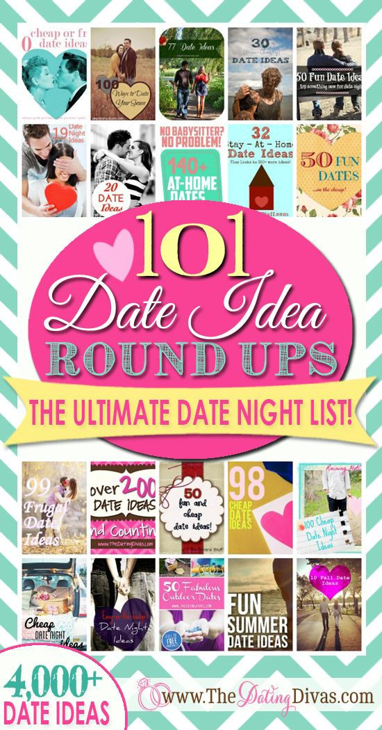 We rounded up ALL of the best date idea round-ups out there!  Consider it your one-stop spot for date night inspiration. With over 4,000 date night ideas- you'll never run out! www.TheDatingDiva... #datenight #dateideas #thedatingdivas