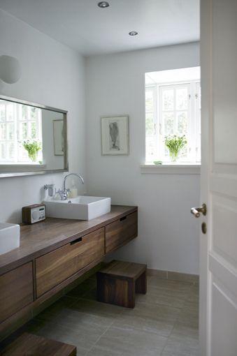 Katrine Mortensen-Larsen / KML Design / Kira Brandt {white and wood rustic modern bathroom}