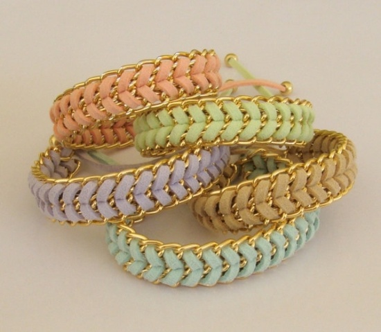 Bracelets in Mint, Peach, Beige, Lavender or Lime