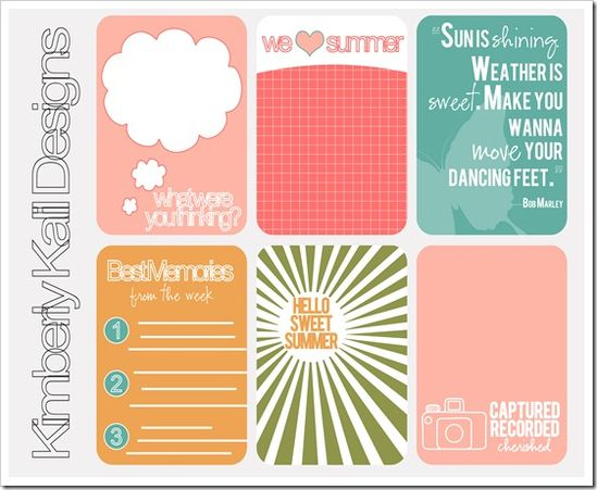 free printable summer journaling cards
