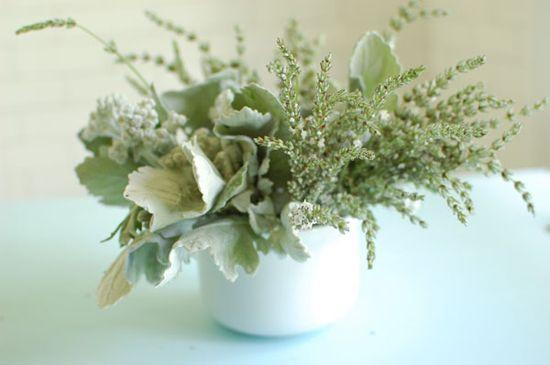 grey flower arrangement