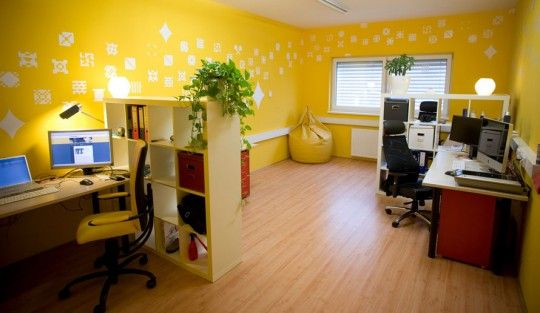 Creative and Colorful Office Design Ideas: Yellow Office with Pixel Wall Decor