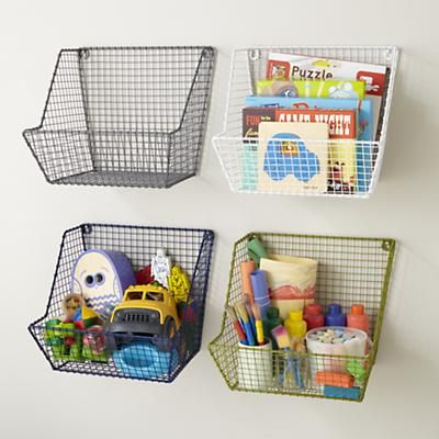 Kids Storage: Wire Wall Storage Bins in Shelf