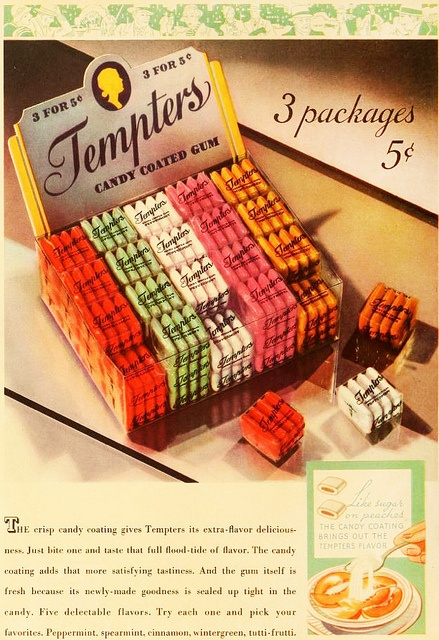 Tempters Chewing Gum, 1935. #vintage #1930s #candy #food #ads