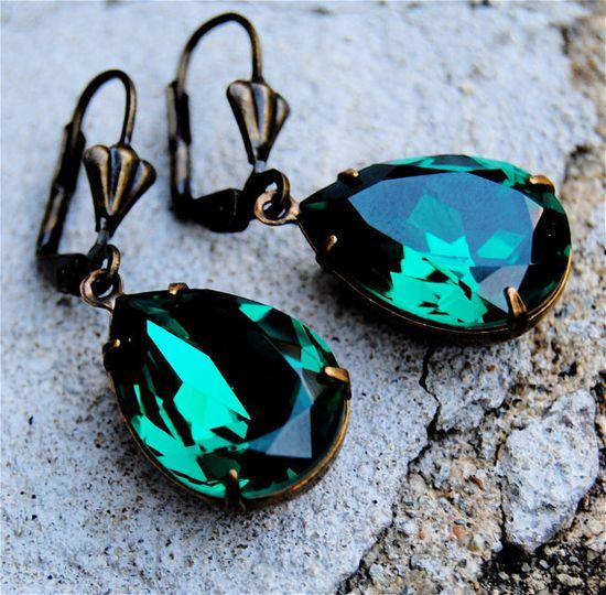 Duchess Swarovski Crystal Earrings - Emerald Green Pears in Vintage Brass - Dangle Earrings