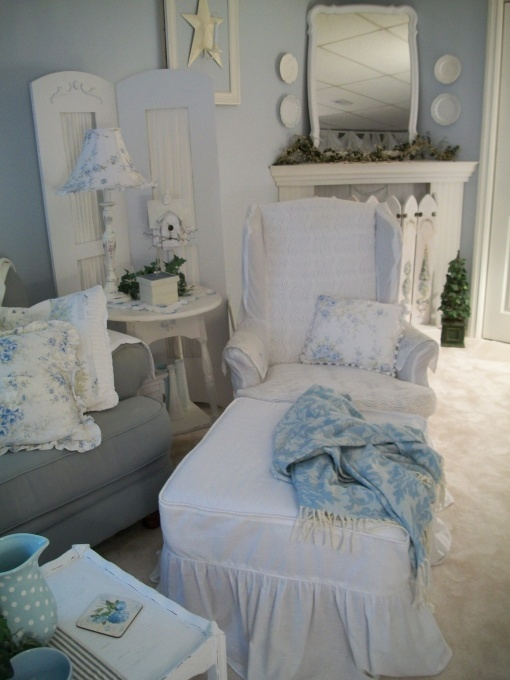 Cottage living room done in pale blues