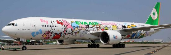 Hello Kitty & Sanrio Friends Eva Air Jet -- available for Taipei, Taiwan to LA, USA route. Just launched!!!