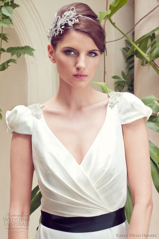 we're loving black sashes right now!   Karen Willis Holmes Wedding Dresses -- Ready-to-Wear and Couture Bridal Collections
