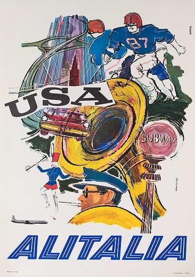 1960s vintage Alitalia travel poster