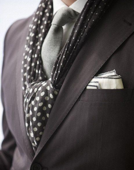 Street Style Stockholm with Rose & Born #Suit #Men's Fashion #polka Dots #Black #White #Grey #Tie #Pocket Square