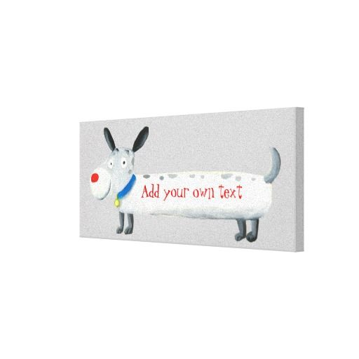cute cartoon dog add your text gallery wrap canvas